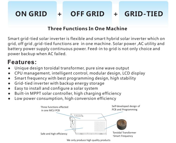 Teknologi baru 4kw kw 10kw hybrid tenaga surya dari grid sistem tenaga surya jaringan tie inverter