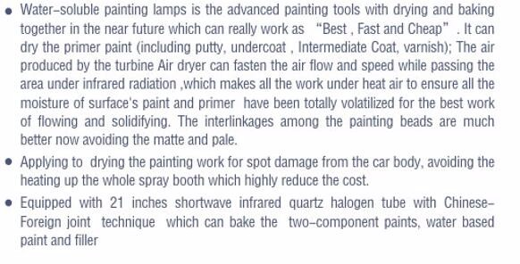 2KW Water based shortwave infrared paint drying systems