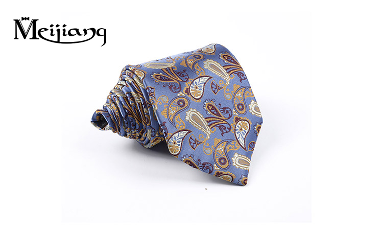 Factory direct soft woven jacquard silk ties school Paisley flower neck tie