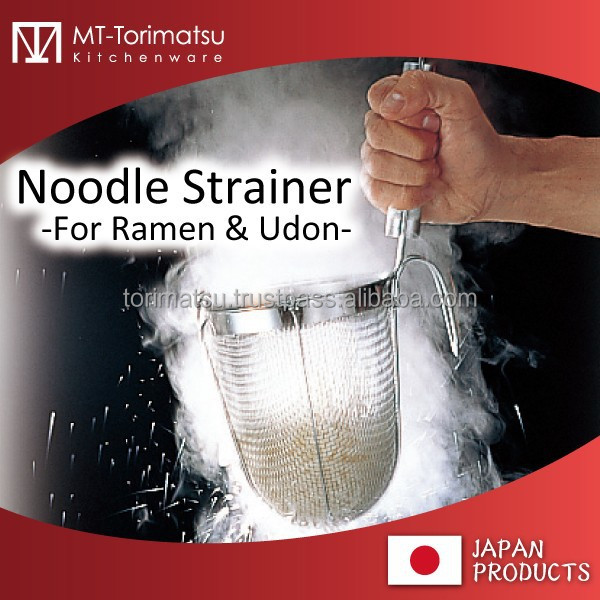 Wood Handle Sainless Steel Mesh Strainer For Ramen Udon Soba All Noodle
