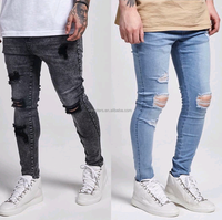 men skin in tight jeans fashion stylish scratch wholesale embroidered jeans for men