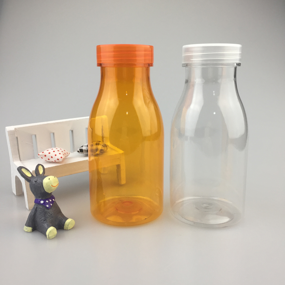 BPA Free Food Grade clear 10oz 300ml 200ml round empty clear PET plastic milk tea juice pudding bottles with clear lids