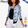 OEM Service Women Zip Pocket Polyester Blue Camo Bomber Jackets