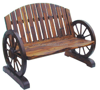 Outdoor Furniture Wooden Wagon Wheel Bench