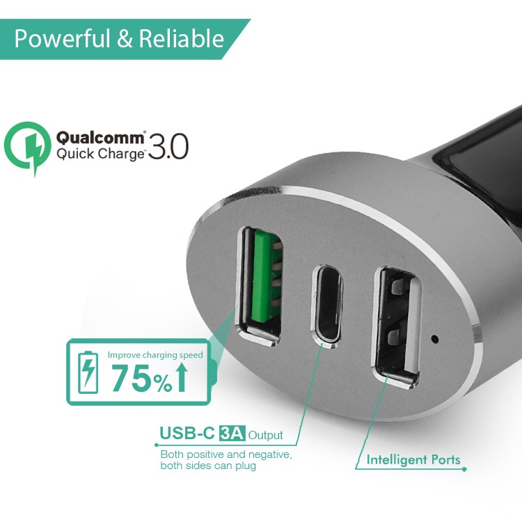 Quick charge 3.0 type c three port car charger for car