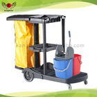 Multi-purpose hospital cleaning cart hotel housekeeping Plastic cleaning Janitor Cart wholesales cart with two buckets mop wring