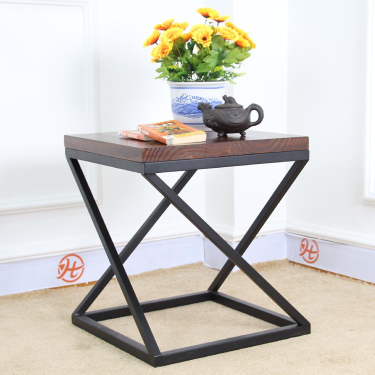 Ikea Coffee Table Timber: Nordic IKEA Iron Retro Square Wood Coffee Table Small Tea