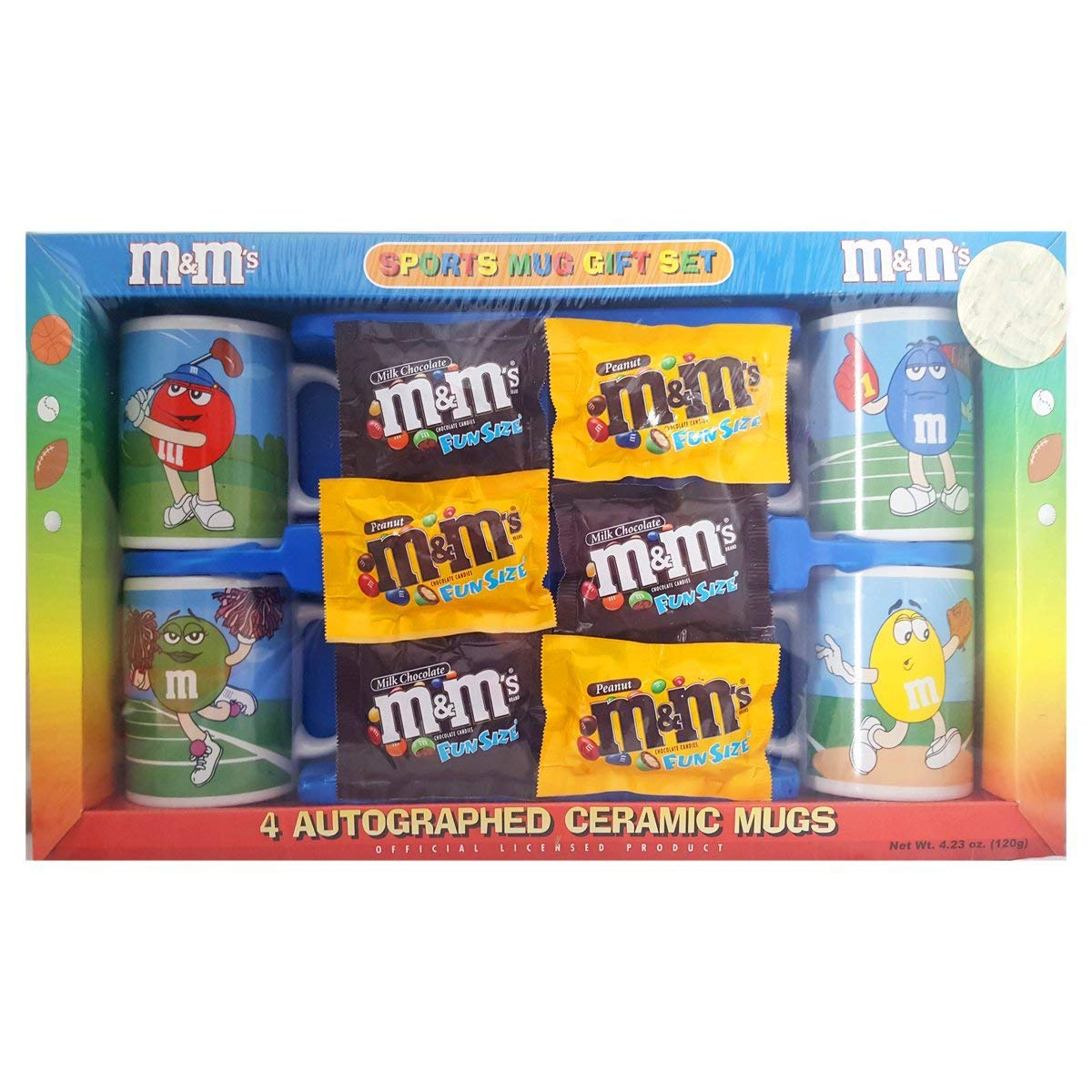 Collectible 2004 M&M Gift Set 4 Autographed Ceramic Sports Mugs, Includes Candy