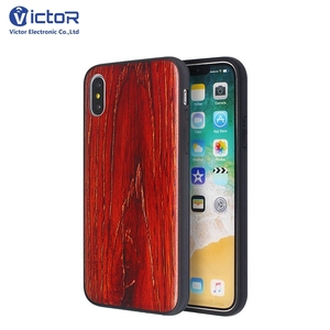 Slim Design Red Wood Pattern Phone Case for iPhone X