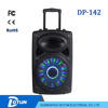 dotun 12 inch bluetooth speaker portable trolley speaker with wireless mic/led light DP-142