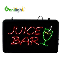 Genilight indoor 22*13inch Power Saving 12V 20mA lighted JUICE BAR led open sign board