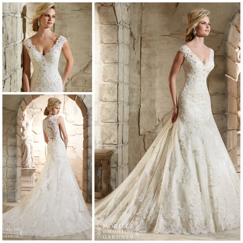 2015 New Elegant Full Long Sleeves Mermaid Wedding Dresses: 2015 Summer New Arrival Lace Wedding Dress V Neck Cap