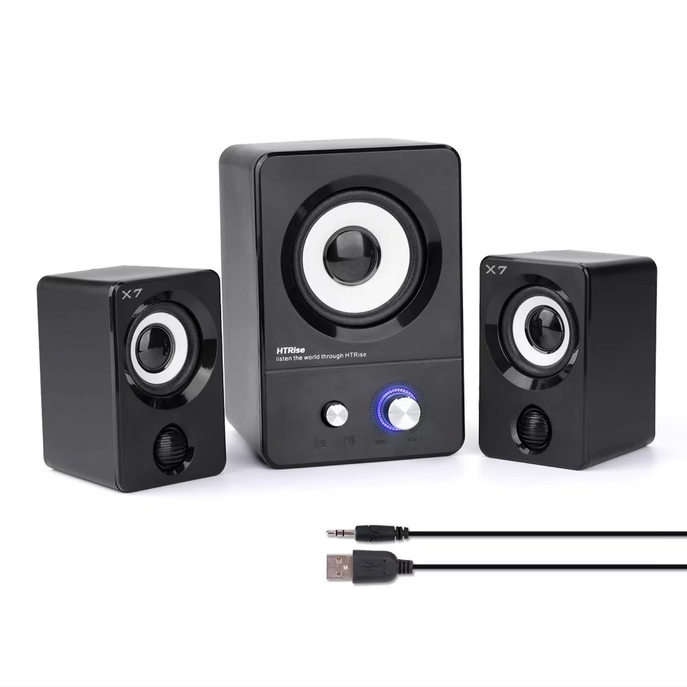 HTRise USB Powered Computer Speakers System (X7 Black) for Gaming/Music/Movies, Active Multimedia Stereo Sound for Laptop/Desktop/Lenovo/HP/ThinkPad/IBM/DELL/SONY/MACFEE/SAMSUNG/ACER/Microsoft/PC