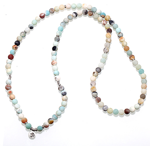 Natural Stone Bracelet 108 Mala Yoga Necklace Matte Amazonite Jewelry