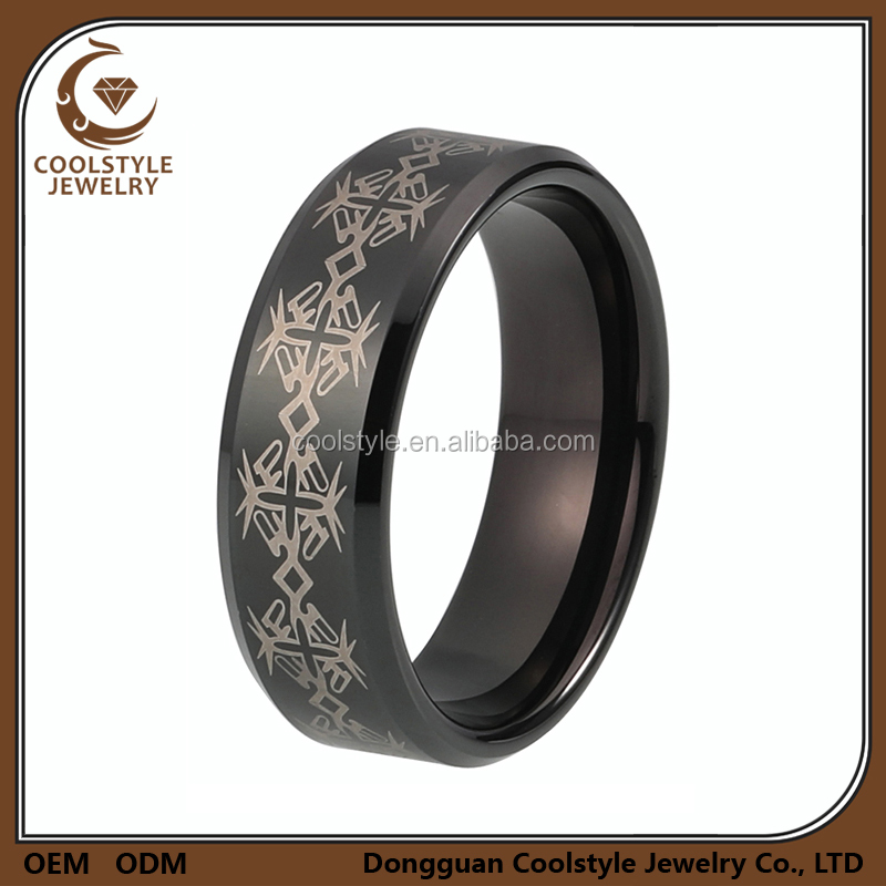 Hot selling fashional design jewerly black plated engraved tungsten rings