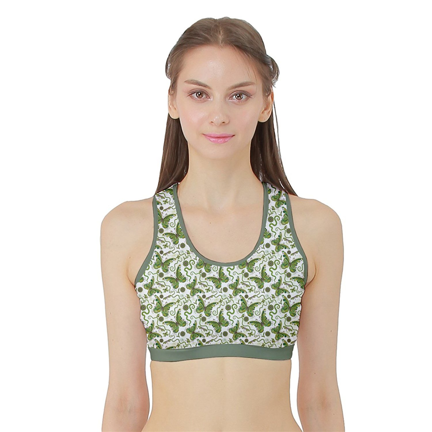 17thdreamer Womens Green Vintage Butterflies HOT Sports Bra With Border