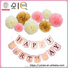 UMISS 2017 New Design Pink Gold Ivory Party Decorations, Happy Birthday Banner With Foil Letters, Tissue Paper Pom Poms Flower