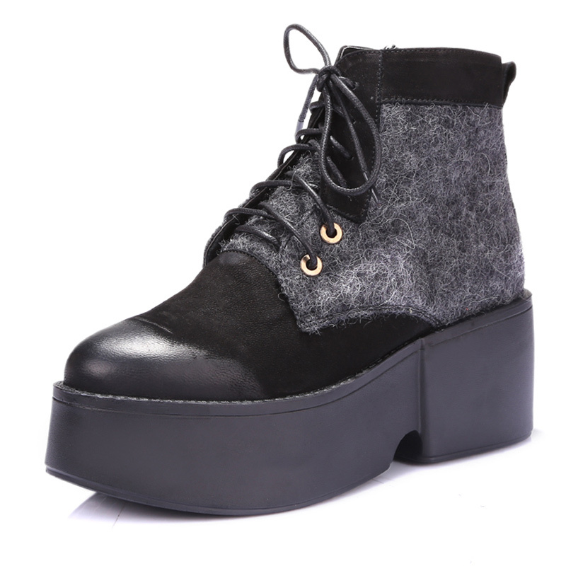 2015 Autumn New Brand Huikang Boots For Women Genuine Leather Lace-Up Womens Ankle Boots Sheepskin Platform Chunky Boots A1-6026