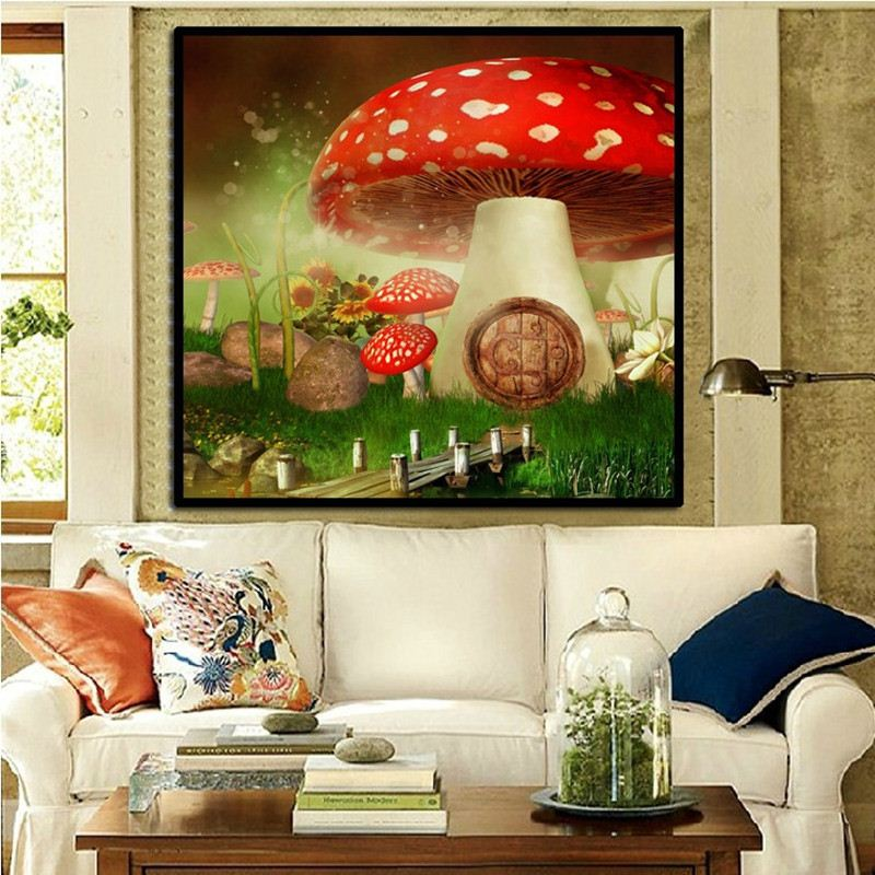 Diamond Painting Cross Stitch Red mushroom house wall stickers canvas round embroidery living room decoration picture