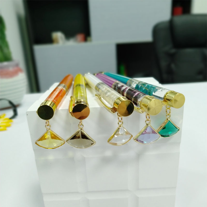 New and Innovative DIY Color Crystal Ball Pen Custom Liquid Floating Dry Drawing Metal Ball Pen Advertising Gifts Flower  Pen