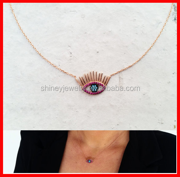 Top quality <strong>silver</strong> 925 fashion eyelash eye shape <strong>silver</strong> necklace