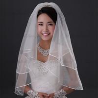 CXY01 Bridal Accessories Cheap White 2T Vintage Short Wedding Veil Wholesale