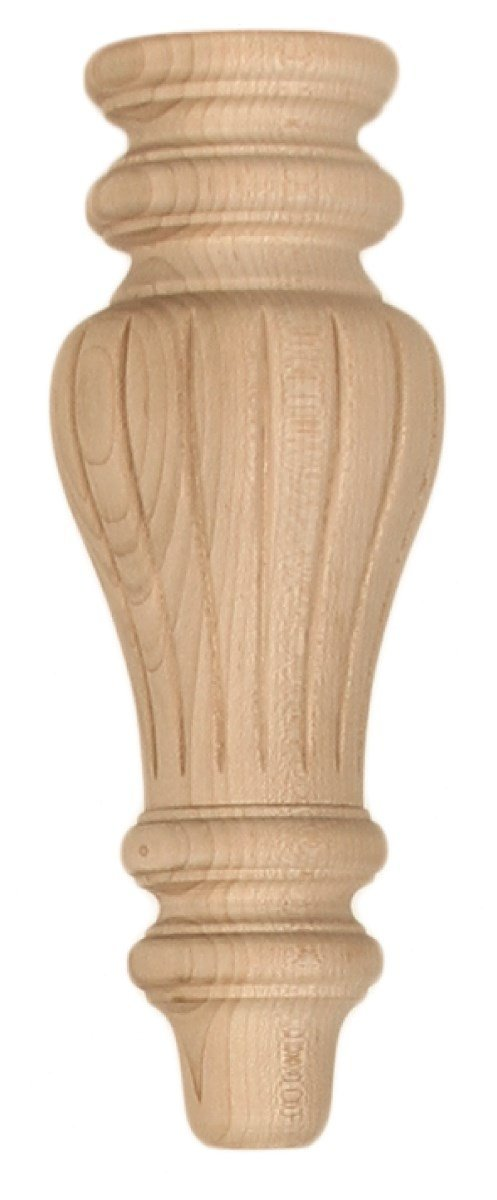 "Cabinet Bun Feet - 3-3/8"" Diameter x 9-1/8"" Tall Round Reeded Wood Bun Foot in Rubberwood"