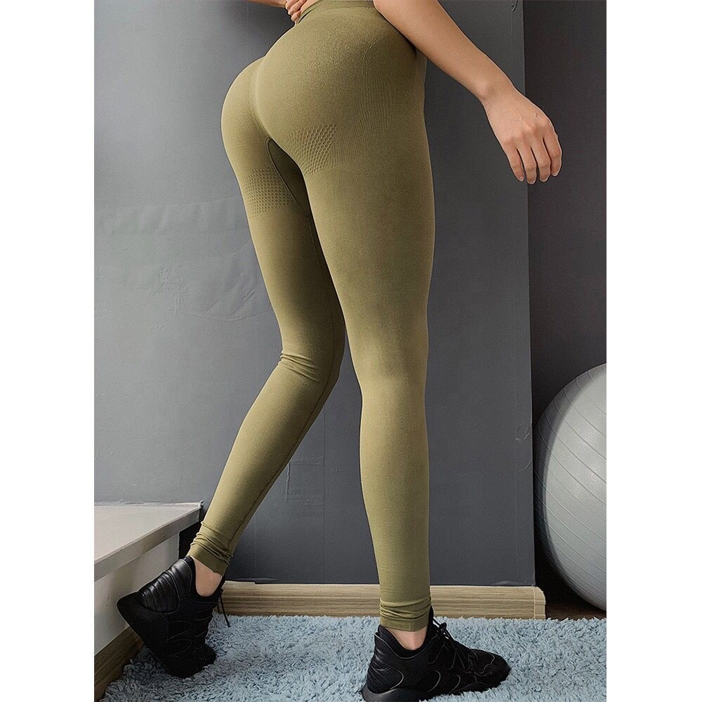 Solid Color Small MOQ high waist workout women seamless spandex leggings