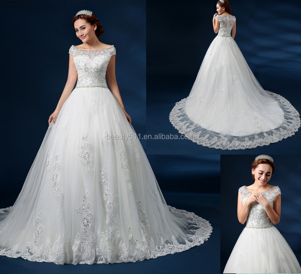 Cap Sleeve Pattern Wedding Dress