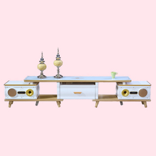 Two stereos Telescopic white MDF luxury tv stand in china