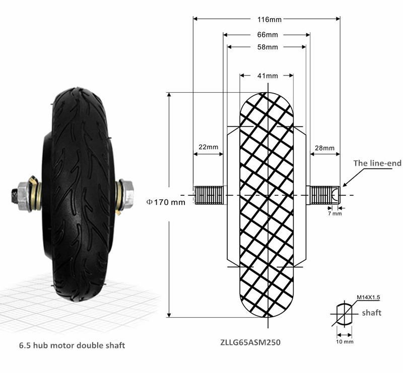 Brushless electric scooter wheel hub motor permanent magnet electric hub motor small single shaft 36 48V 6.5 inch hub motor