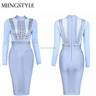 Long Sleeve women bodycon evening dresses formal dress evening for lady