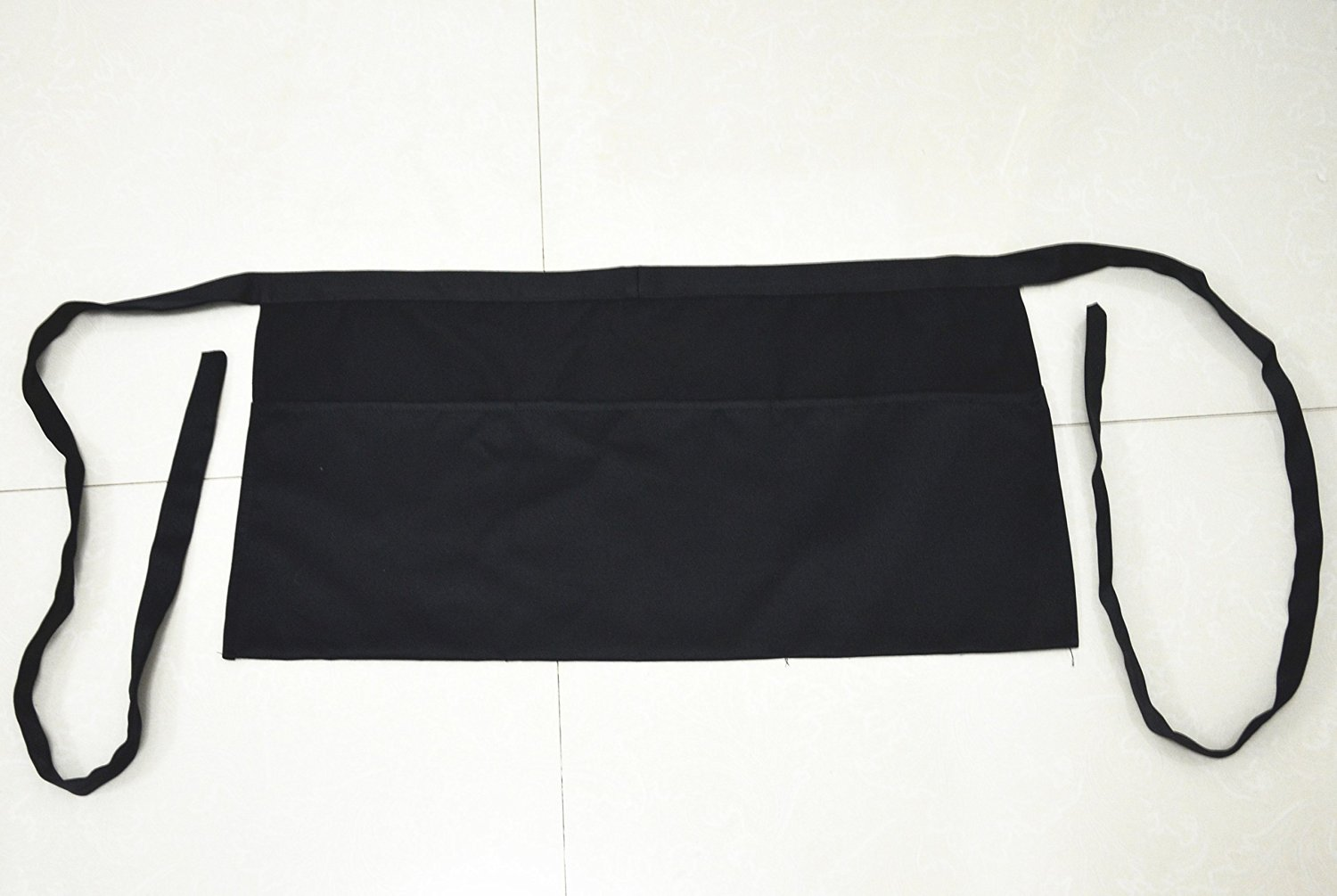 Ulove Prs New 3 Pockets Waist Apron (SET of 2, Black, 24x12 inches) - Durable, Comfortable, Easy Care, Restaurant Half Aprons.