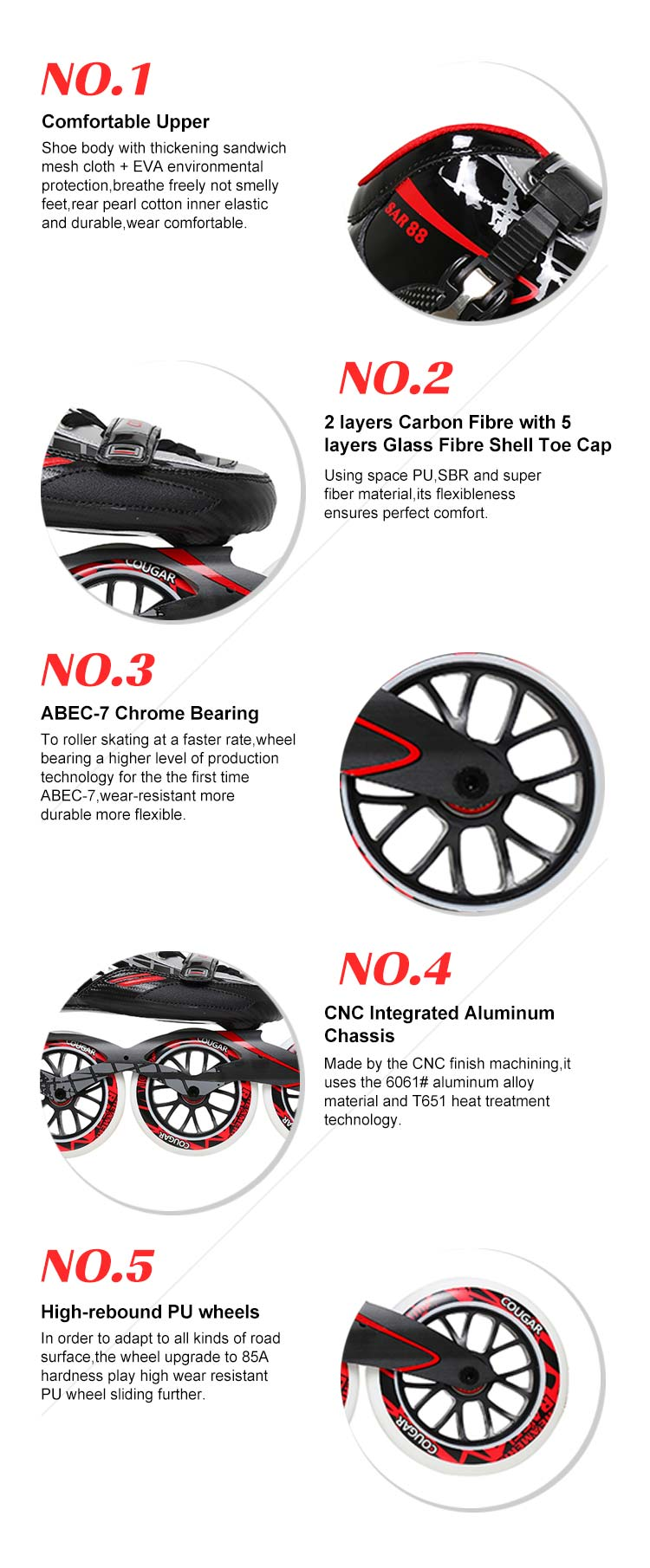 New arrival pu wheels professional roller speed 90/100mm stock inline carbon fiber speed skates