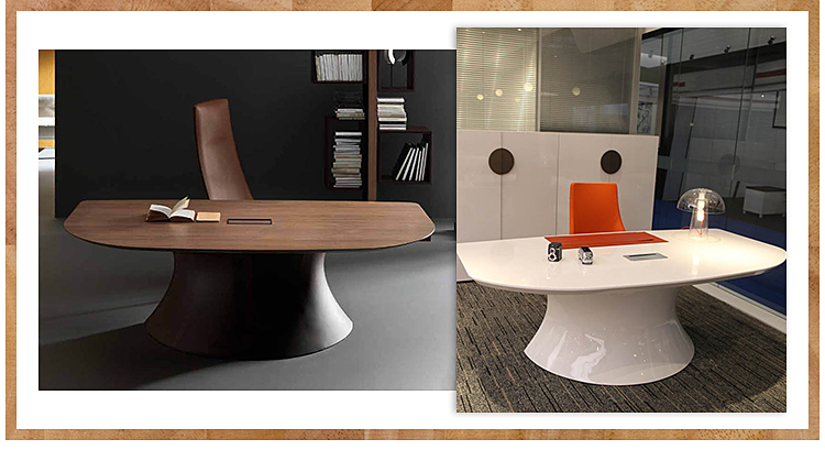 Arc-shaped CEO curved wooden executive half round office desk