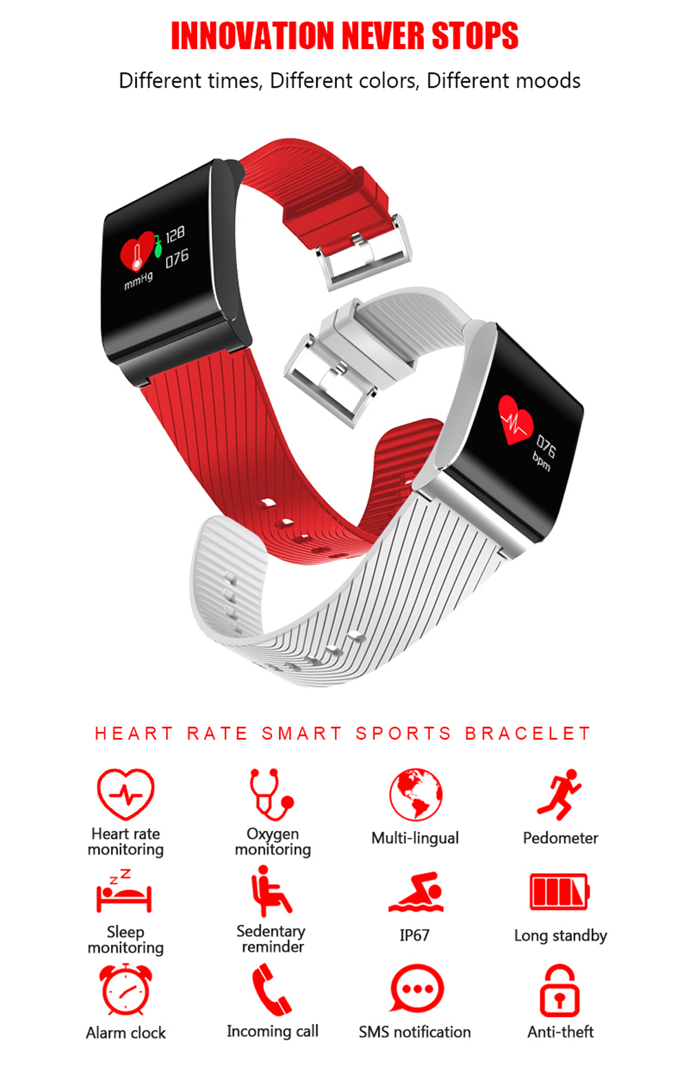 Smart Bracelet X9 Pro Heart Rate Monitor Blood Pressure Fitness Tracker Anti-lost Sports Smart Wristband IP67 Waterproof for Men