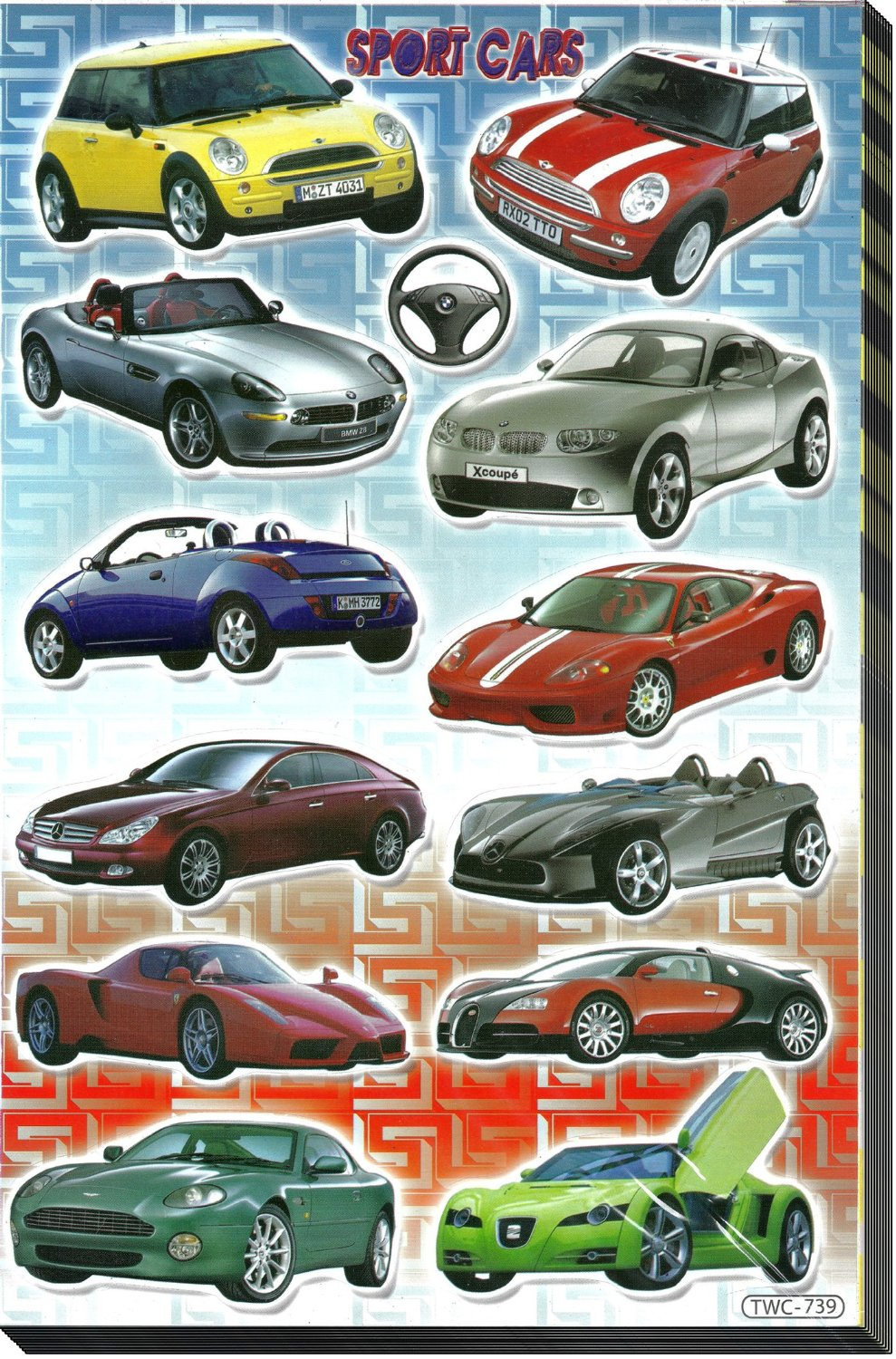 Jazzstick 120 fun vehicles sport cars decorative stickers for kids large size 6 7x10 4