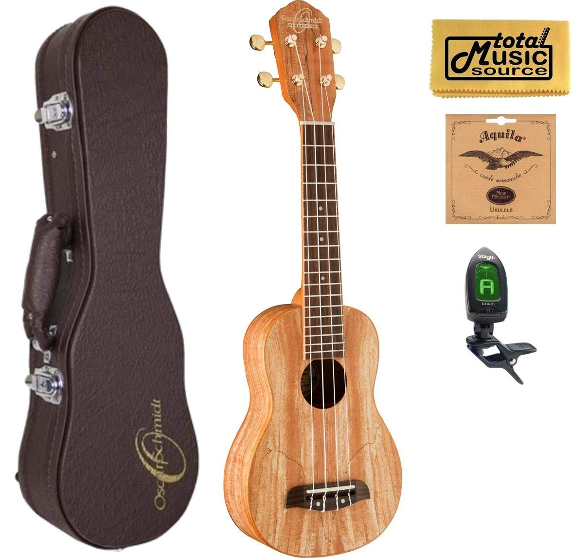 Oscar Schmidt OU18 Soprano Ukulele ,Spalted Maple,W/Hard Case,Tuner,Strings & PC