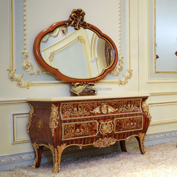 Gorgeous Luxury Design French Marquetry Bedroom Furniture Dresser Table,  Neo Classic Wooden And Brass