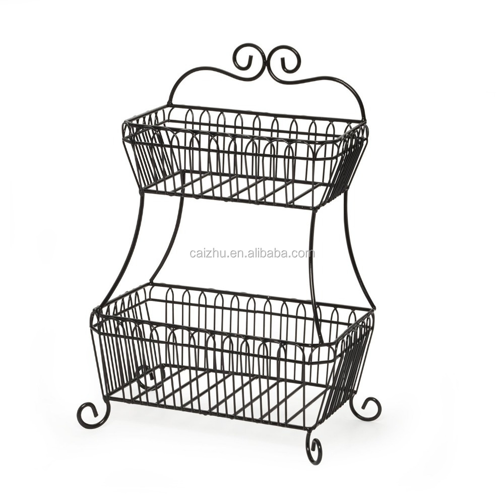 2 tier metal bread storage rack decorative wire vegetable mesh basket