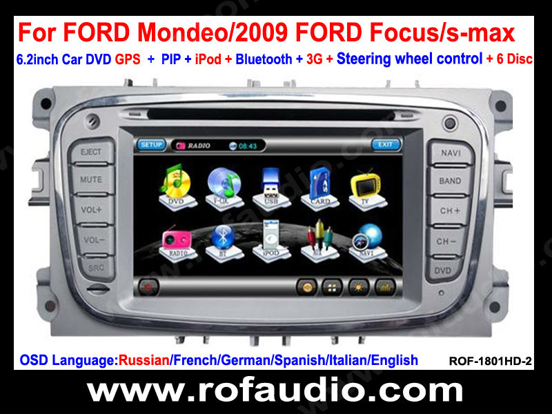 "8"" Car DVD Player with GPS Navigation For FORD Mondeo/2009 FORD Focus/s-max"
