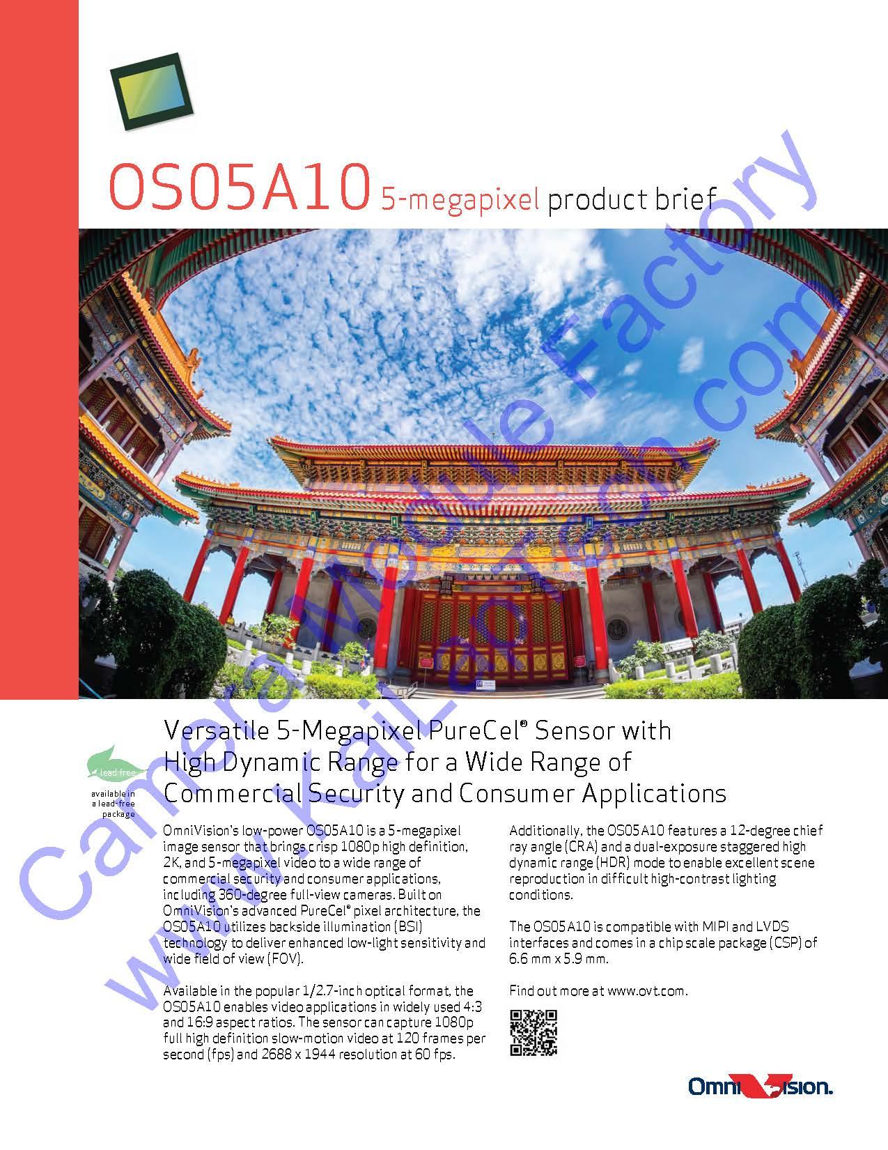 OmniVision OS05A10 MIPI Interface Fixed Focus 5MP Camera Module  KLT-B8MF-OS05A10 V1 0, View Senaors OS05A10 OS05A11 OS05A15 OS05A20, KLT  Product
