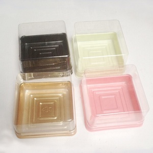 Custom small clear pet pp ps plastic blister baking mini cake box with lid