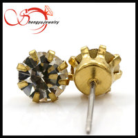round shape sun flower brass stud earring with crystal stone