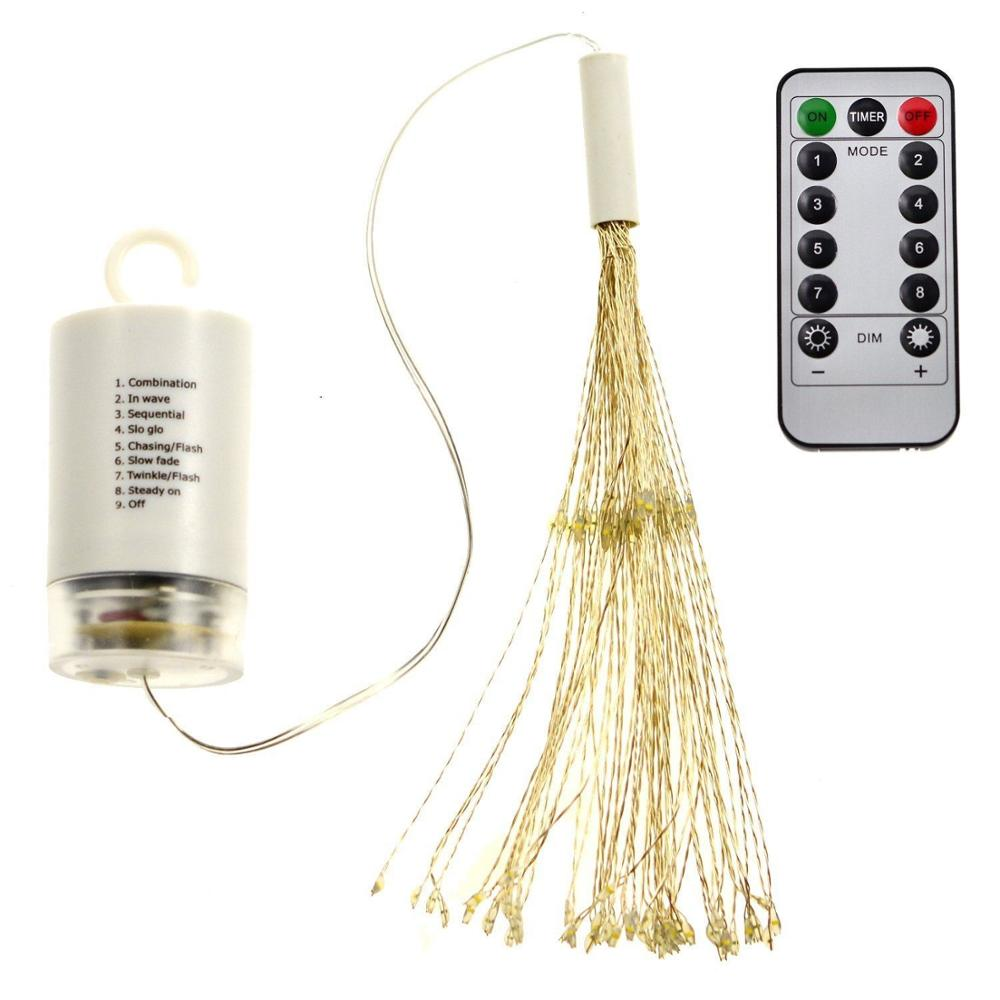Firework LED String Lights 8 Modes Dimmable Fairy Lights with Remote Control Battery Operated Hanging Starburst Lights