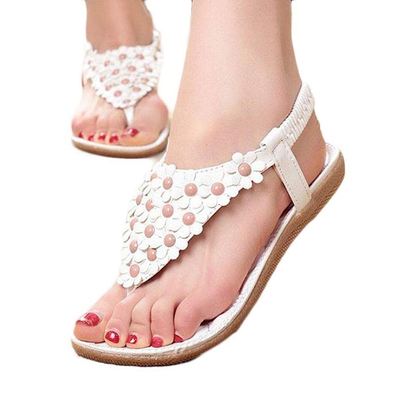 ad4b48e5184508 Get Quotations · Women Dressy Sweet Summer Bohemia Rubber Clip Toe Sandals  Beach Shoes Flat Herringbone Flip Flops Shoes