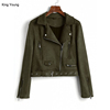 KY lady cropped length Army Green Zip Up Belted Faux leather Suede fabric military jacket