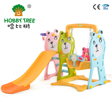 Cheap and High Quality Plastic Slide Type Swing and Slide Kids Indoor Playground Family Using