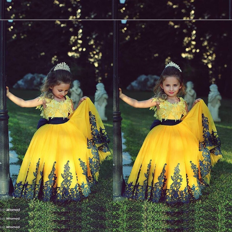 hot cheap nice yellow and black lace flower charming popular wedding dress
