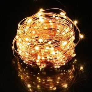 10M 100 LEDs 20M 200 LEDs Copper Wire Fairy String Lights Warm White Decorative Battery operated